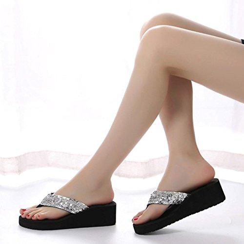 Sandals Thong Summer Xjp Slip Flops Flip Women's Anti Silver Sequins Wedge 0UqBw