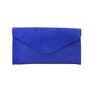 Ladies Cobalt Blue Suede Envelope Evening Clutch Bag: Amazon.co.uk ...
