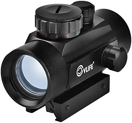 CVLIFE 1X30mm Red Green Dot Sight Micro Reflex Sight with 22mm Weaver Mount 5 Brightness for Hunting