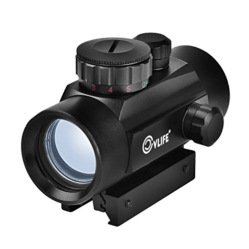 CVLIFE 1X30mm Red/Green Dot Sight Tactical Micro Reflex Sight with 22mm Weaver Mount 5 Brightness Settings for Hunting