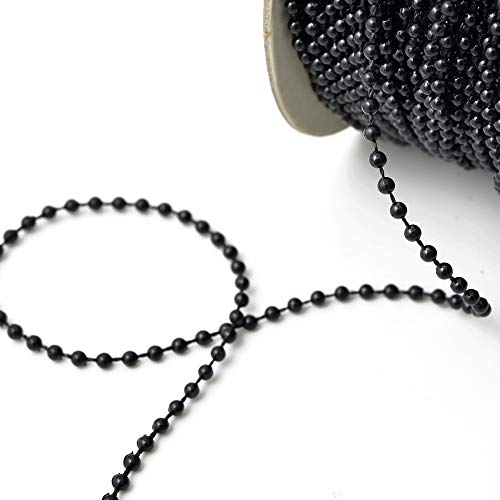 4mm 30 Yards Black Faux Pearlized Beads on a String, Pearl Trim for Home Deco, Lamp Shade, Costume, SP-2258