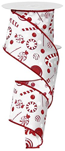 "Candy Peppermint Christmas Ribbon: Red and White 2.5"" X 10 Yards : RG1864W7"