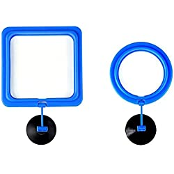 UEETEK Fish Feeding Ring Round and Square Floating Food Feeder Circle with Suction Cup - 2 Pieces