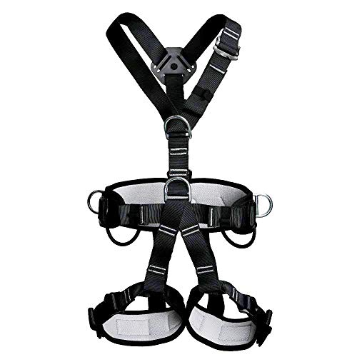 Full Body Adult Safety Harness Outdoor Rock Climbing Momentum Harness for Mountaineering Outward Band Expanding Trainin Caving Rock Climbing Rappelling Equip Black