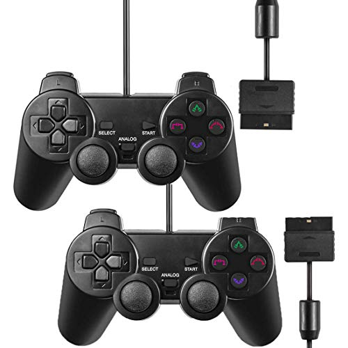 Wired Controller for PS2 Playstation 2 Dual Shock(Pack of 2,Black)