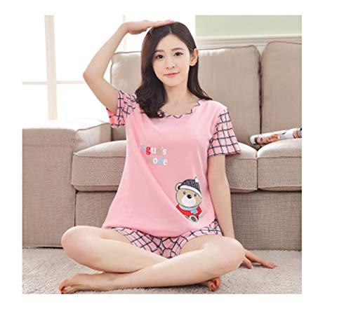 Karting Collar Neck (Plus Size XXXL New Summer Sleepwear Women Pajamas Sets v-Neck Cartoon Short Sleeve Pajama Suit Women Homewear Suit Soft Cotton 21 XXXL)