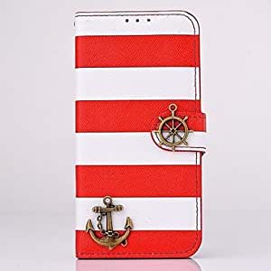 DUR HHMM Pirate Ship Stripe PU Leather Cases with Stand for iPhone 6 plus Case 5.5 inch(Assorted Colors) , Red