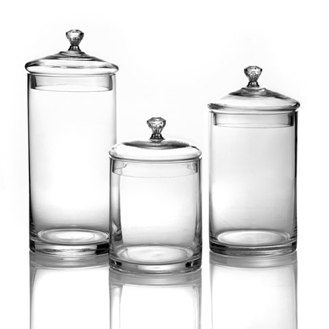(Jay Import Style Setter Canister Set 3-Piece Glass Jars Chic Design With Lids And Silver Knobs for Cookies, Candy, Coffee, Flour, Sugar, Rice, Pasta, Cereal & More)