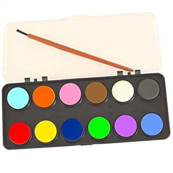 kids watercolour paint set 12 colours with brush art craft - Images To Paint For Kids
