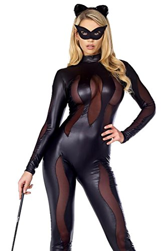 GAGA Women's Sexy Fashion Black Cat Halloween Cosplay Black (Sexy Katniss Costumes)
