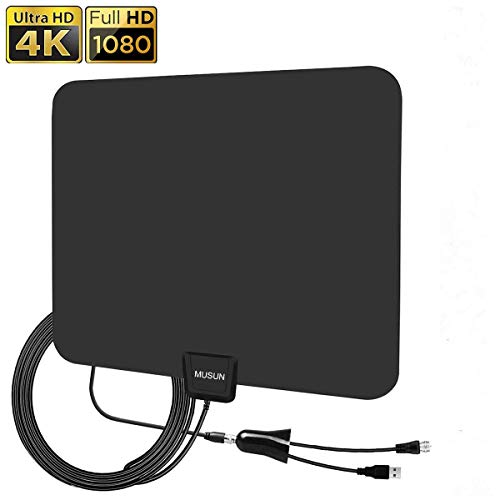 AMEISEYE Digital Amplified HD TV Antenna 50-80 Mile Range - Support 4K 1080p and All TV's w/Detachable HDTV Amplifier Signal Booster - 13.5 Lon ()