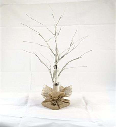 White Birch Tree Lighted 27inches Tall, 24LEDs (Energy efficient), Decor Hanging Jewelry, Wedding Decor, Complete Burlap Base Cover (3xAA Included)