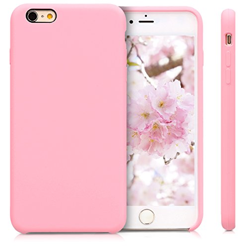 kwmobile TPU Silicone Case Compatible with Apple iPhone 6 Plus / 6S Plus - Soft Flexible Rubber Protective Cover - Light Pink