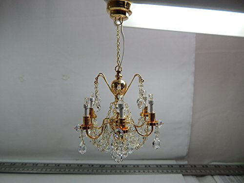 Heidi Ott Dollhouse Miniature Light 1:12 Scale LED Crystal gold 6 Arms Chandelier #YL7601 by Heidi Ott
