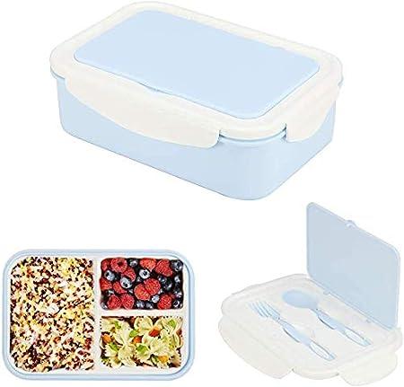Bento Box,Fiambrera Bento,Fiambreras Caja,Lunch Box,Caja Almuerzo Niños,Caja de Bento con 3 Compartimentos y Cubiertos (Azul): Amazon.es: Hogar