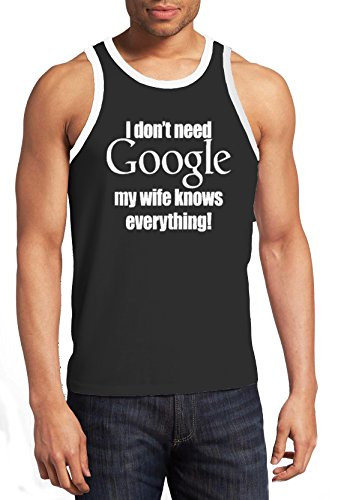 Black Humor Ringer - YM Wear Men's I Don't Need Google My Wife Knows Everything Adult Humor Ringer Tank Top 2X-Large Black/White