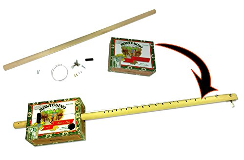 One-string Cigar Box Guitar DiddleyBow Kit - Easy to Build, all parts, hardware & instructions included