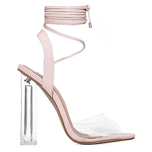 Kick Footwear Ladies Womens Girls Perspex High Heels Clear Strap Long Lace up Party Shoe Size Pink 7VGCu