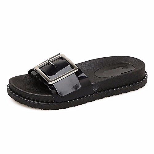 Noir Bouton Chaussons FY à de Chaussures Fond Étudiants Plage D'Usure L'Extérieur Chaussons D'Été Antidérapant Épais YMR Mignon Chers Élégant à S8H0nq