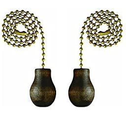 Westinghouse Lighting Corp 12-Inch Walnut Wooden Knob Pull Chain - 2 Pack