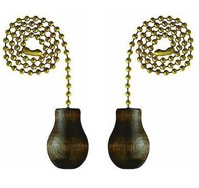 Westinghouse Lighting Corp 12-Inch Walnut Wooden Knob Pull Chain - 2 Pack (Pulls Chain Decorative)