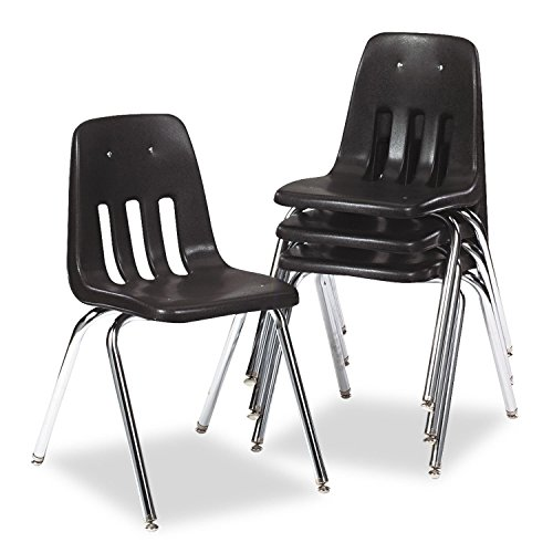 Virco - Series 9000 Plastic Stack Chair - Black - 4 (9000 Series Stack Chair)