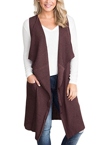 BLENCOT Women's Lightweight Sleeveless Open Front Cardigan Sweater Vest With Pockets-Coffee Medium (Womens Vests With Pockets)