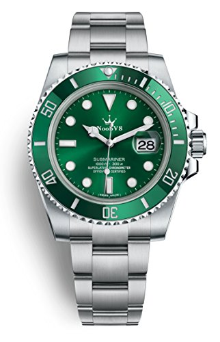 - High End Swiss REP V8 Crown SUB Date ETA 2836 Automatic Watch Sapphire 904L Stainless Steel Ceramic Bezel Green Dial Ceramic Bezel 116610lv