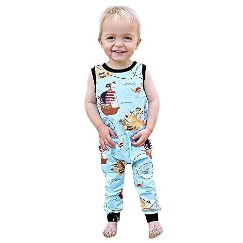 Toddler Baby Boy Girl Cartoon Pirate Ship Print Back Zipper Cotton Jumpsuit Romper in Sky Blue (24M, Sky Blue)