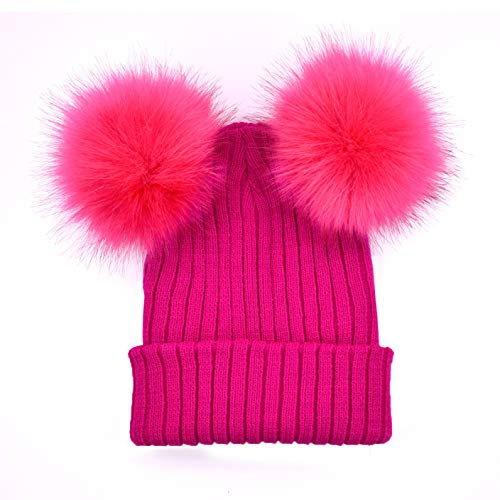 2019 Peak Amps - Absinthe Value-for-Money New Women Winter Warm Knitted Beanie Cap Hat Ski Faux Fur Pom Bobble Ball in fine Style(None None Meihong.)