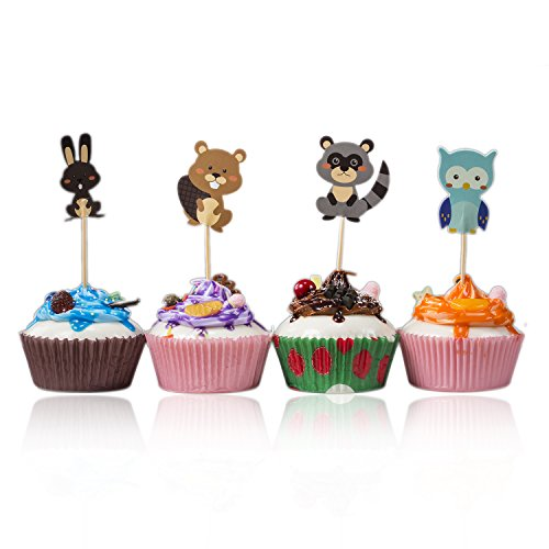 Skoye 48pcs cute woodland animals Dessert Muffin Cupcake Toppers for Picnic Wedding Baby Shower Birthday Party Server - Rabbit, Squirrel, Racoon and Owl