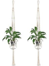 Macrame Plant Hangers, DUTISON Hanging Planter Flower Pot For Indoor  Outdoor Decoration, 2 Pack