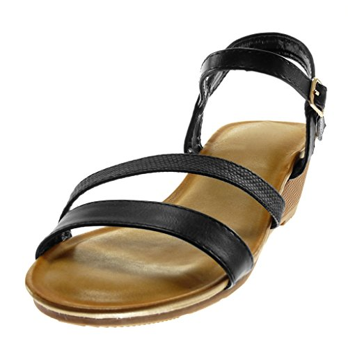 Angkorly Damen Schuhe Sandalen - Knöchelriemen - Schlangenhaut - String Tanga Keilabsatz 5 cm Schwarz