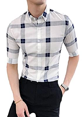 pujingge Men's Short Sleeve Cotton Plaid Slim Fit Dress Shirts