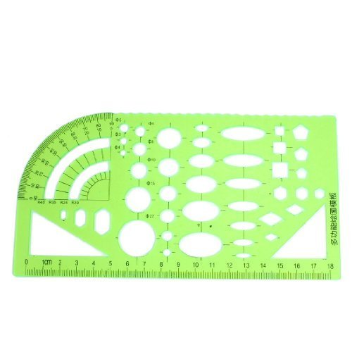 Dimart Students Teacher Clear Green Stationery Measuring Template Ruler Guide