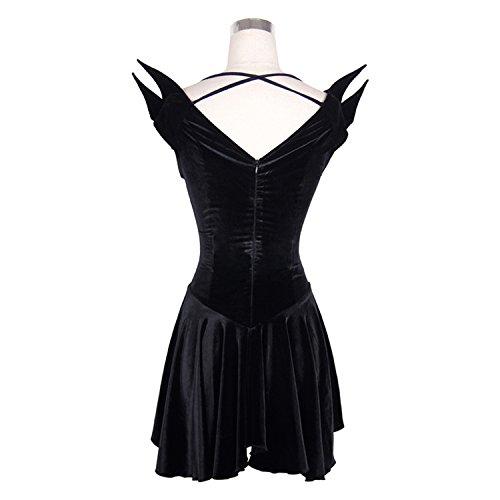 Devil Fashion Vestido g¡§?tico Steampunk del g¡§?tico de las mujeres del arn¡§?s V del vestido sin mangas del chaleco de la falda corta del negro,7 tamanos