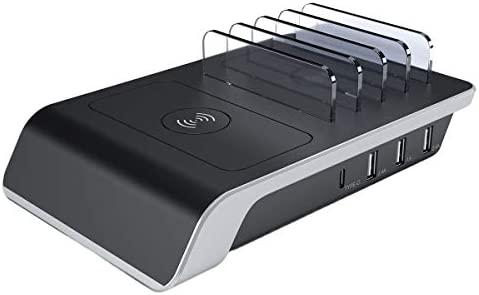 Hemobllo Cargador USB Multi-Organizador de 4 Puertos para teléfono ...