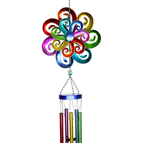 Exhart Rainbow Art Wind Spinner - Metallic Rainbow Wave Design Hanging Décor w/Colorful Pipe Wind Chimes - Rainbow Decorations Hanging Wind Spinner, Indoor/Outdoor Decor, 11 X 50 Inches -