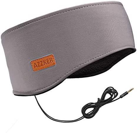 Sleep Headphones, Azzker Eye Mask for Sleeping with Ultra-Thin HD Stereo Speakers & Travel Bag Perfect for Insomnia, Side Sleeper, Nap, Snoring, Air Travel, Meditation & Relaxation (Gray-2)