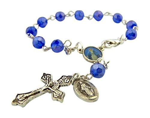 Catholic Gift Our Lady of Grace Miraculous Mary Travel Protection 6MM Blue Glass Bead 5 3/4 Inch Rearview Mirror Car Truck Auto Rosary ()
