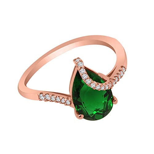 10K Gold Pear Shape Simulated Gemstone & 1/10 Ct Real Diamond Solitaire Bypass Ring (rose-gold, emerald & real diamond)