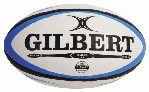 Gilbert Omega Match Rugby Ball (Black,/Royal, Size-5) ()