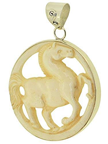(Jewelry with Soul Prancing Carved Horse Sterling Silver Pendant)