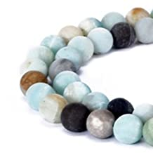 jennysun2010 Natural Matte Frosted Multi-Colored Amazonite Gemstone 8mm Round Loose 50pcs Beads 1 Strand for Bracelet Necklace Earrings Jewelry Making Crafts Design Healing
