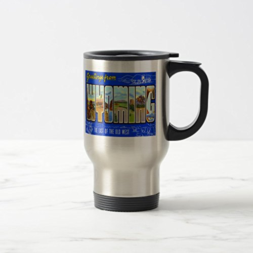 Zazzle Wyoming Wy Large Letter Vintage Postcard Coffee Mug, Stainless Steel Travel/Commuter Mug 15 oz