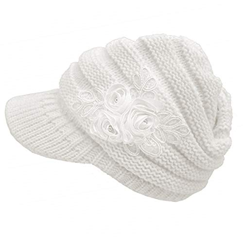 (NYKKOLA Women Cable Knit Winter Warm Beanie Hats Newsboy Cap Visor with Sequined Flower - White)