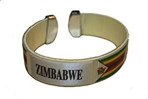 Zimbabwe White Country Flag THICK C' Bracelet Wristband.. New