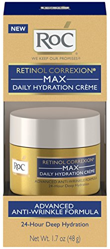 Skin Care Rejuvenating Moisture Cream - RoC Retinol Correxion Max Daily Hydration Anti-Aging Crème for 24-Hour Deep Hydration, Advanced Anti-Wrinkle Moisturizer Made with Retinol & Hyaluronic Acid, 1.7 oz