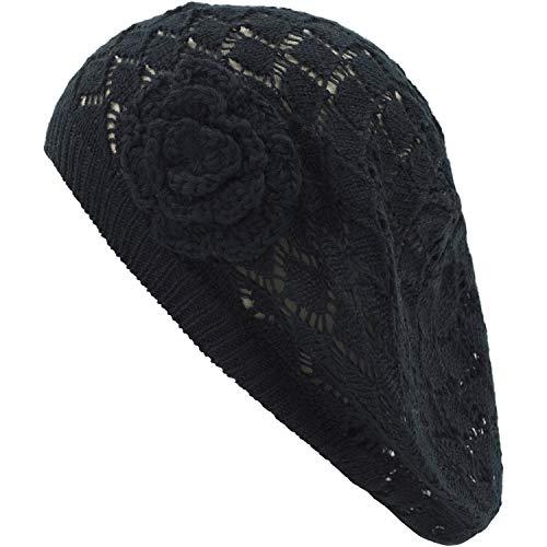 an Womens Knit Hats Flower Black Diamond Weave Crochet Summer Beret Hat Beanie