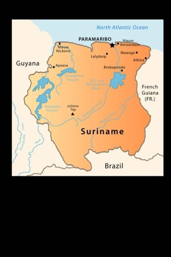 Map of Suriname Journal: 150 page lined notebook/diary